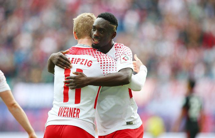 Deutsche Bundesliga, RasenBallsport Leipzig vs. Eintracht Frankfurt - Timo Werner und Jean-Kevin Augustin (RB Leipzig) - Foto: GEPA pictures/Roger Petzsche