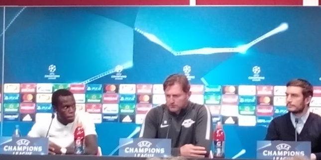 Bruma und Ralph Hasenhüttl, RB Leipzig vs. FC Porto. Fußball UEFA Champions League, Pressekonferenz, SPORT4FINAL LIVE
